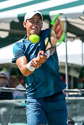 July 19, 2018 - Newport, RI, U.S. - NEWPORT, RI - JULY 19: Vasek Pospisil (CAN) returns to Ram Ramanathan (IND) during their quarterfinal match up in the Dell Technologies Hall of Fame Open at the International Tennis Hall of Fame in Newport, Rhode Island on July 19, 2018. Ramanathan won the match 7-5, 6-2 and advanced to the semifinals. (Photo by Andrew Snook/Icon Sportswire) (Credit Image: © Andrew Snook/Icon SMI via ZUMA Press)