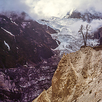 A dead tree seems to defy Glacial erosion from an icefall in the Annapurna massif, Nepal.