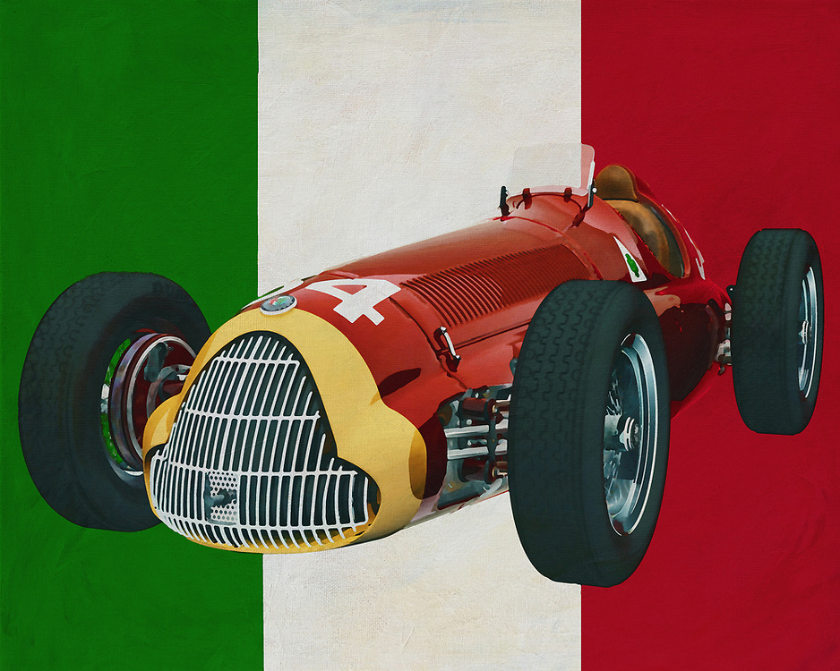 With the legendary Alfa Romeo 158 Alfetta, the Italian car brand Alfa Romeo made its name on the race track in the 1950s. Here the Alfa Romeo Alfetta is depicted with the Italian colours in the background to express that it is a purely Italian car. <br /> What is striking is that the Alfa Romeo 158 Alfetta, just like other racing cars from the fifties, has a huge engine.<br /> <br /> This painting of the Alfa Romeo 158 Alfetta can be printed on different sizes and materials. Truly a piece for every car enthusiast to hang in an office or home. -<br /> <br /> BUY THIS PRINT AT<br /> <br /> FINE ART AMERICA<br /> ENGLISH<br /> https://janke.pixels.com/featured/alfa-romeo-158-alfetta-with-the-italian-flag-jan-keteleer.html<br /> <br /> <br /> WADM / OH MY PRINTS<br /> DUTCH / FRENCH / GERMAN<br /> https://www.werkaandemuur.nl/nl/werk/Alfa-Romeo-158-Alfetta-met-de-Italiaanse-vlag/636871/134?mediumId=1&size=70x55