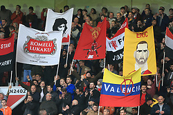 28th October 2017 - Premier League - Manchester United v Tottenham Hotspur - Man Utd fan hold up banners depicting players including Romelu Lukaku, George Best, Antonio Valencia and Eric Cantona - Photo: Simon Stacpoole / Offside.