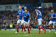 Portsmouth Midfielder, Matty Kennedy (11) celebrates after scoring a goal to make it 1-1 during the EFL Sky Bet League 1 match between Portsmouth and Northampton Town at Fratton Park, Portsmouth, England on 30 December 2017. Photo by Adam Rivers.