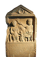 Second century Roman Christian funerary stele for 3 dead people from Africa Proconsularis. The stele depicts the deceased:  Fausata who died age 75, a man who died age 70 and a child who died age 2 years 6 months. From the first half of the second century AD from the region of Bou Arada in present day Tunisia. The Bardo National Museum, Tunis, Tunisia.  Against a white background. .<br /> <br /> If you prefer to buy from our ALAMY STOCK LIBRARY page at https://www.alamy.com/portfolio/paul-williams-funkystock/greco-roman-sculptures.html . Type -    BARDO    - into LOWER SEARCH WITHIN GALLERY box - Refine search by adding a subject, place, background colour, museum etc.<br /> <br /> Visit our CLASSICAL WORLD HISTORIC SITES PHOTO COLLECTIONS for more photos to download or buy as wall art prints https://funkystock.photoshelter.com/gallery-collection/The-Romans-Art-Artefacts-Antiquities-Historic-Sites-Pictures-Images/C0000r2uLJJo9_s0c