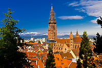 Overview of the Munster (Cathedral of Our Lady) and the city of Freiburg, Baden-Württemberg, Germany