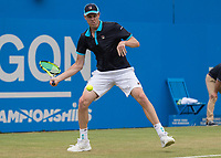 Tennis - 2017 Aegon Championships [Queen's Club Championship] - Day Four, Thursday <br /> <br /> Men's Singles: Round of 16 - Jordan THOMPSON (AUS) vs Sam QUERREY (USA)<br /> <br /> Sam Querrey (USA) in action on Centre Court at Queens Club<br /> <br /> COLORSPORT/DANIEL BEARHAM