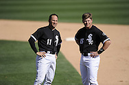 GLENDALE, AZ - MARCH 07:  Omar Vizquel #11 and Gordon Beckham #15 of the Chicago White Sox look on during the game against the Cleveland Indians on March 07, 2011 at The Ballpark at Camelback Ranch in Glendale, Arizona. The game ended in a 16-16 tie. (Photo by Ron Vesely)