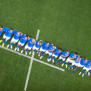 The Italian team sing the national anthem before the Ireland V Italy Pool C match during the IRB Rugby World Cup tournament. Otago Stadium, Dunedin, New Zealand, 2nd October 2011. Photo Tim Clayton...