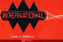 """04 August 2012:  International """"Made in America"""" badging on an 1938 International D2 1/2 ton pickup truck shown at the McLean County Antique Automobile Club Show at the David Davis Mansion, Bloomington IL"""