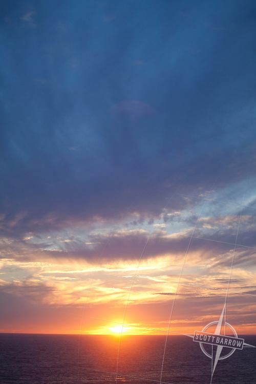 Sunset, sunrise over the ocean.