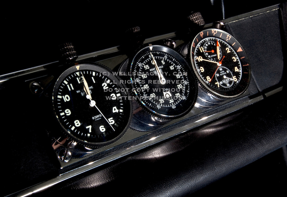 Image of Heuer Master Time, Monte Carlo, Super Autavia, on the dash timers, chronographs in Los Angeles, California, American west coast, property released