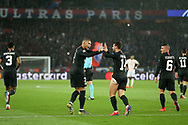 GOAL - 1-1 Kylian Mbappe of Paris Saint-Germain CELEBRATES WITH Juan Bernat of Paris Saint-Germain during the Champions League Round of 16 2nd leg match between Paris Saint-Germain and Manchester United at Parc des Princes, Paris, France on 6 March 2019.