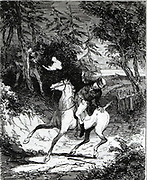 William Horsfall, a Yorkshire merchant and manufacturer, being murdered by Luddites  near Huddersfield, 1812. Etching from Camden Pelham 'The Chronicles of Crime', London 1887.   Illustration by 'Phiz' (Hablot Knight Browne).