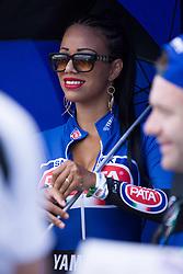 July 8, 2018 - Misano, RN, Italy - Umbrella girls during race 2 of the Motul FIM Superbike Championship, Riviera di Rimini Round, at Misano World Circuit ''Marco Simoncelli'', on July 08, 2018 in Misano, Italy  (Credit Image: © Danilo Di Giovanni/NurPhoto via ZUMA Press)
