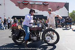 Jeff Erdman of Wisconsin on his 1916 Harley-Davidson as he arrives at the hosted lunch stop at Temecula Harley-Davidson on the last day of the Motorcycle Cannonball Race of the Century. Stage-15 ride from Palm Desert, CA to Carlsbad, CA. USA. Sunday September 25, 2016. Photography ©2016 Michael Lichter.