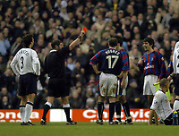 Picture: Henry Browne.<br /> Date: 03/01/2004.<br /> Tottenham Hotspur v Crystal Palace FA Cup 3rd Round.<br /> Danny Butterfield of Palace can't believe he's been sent off.