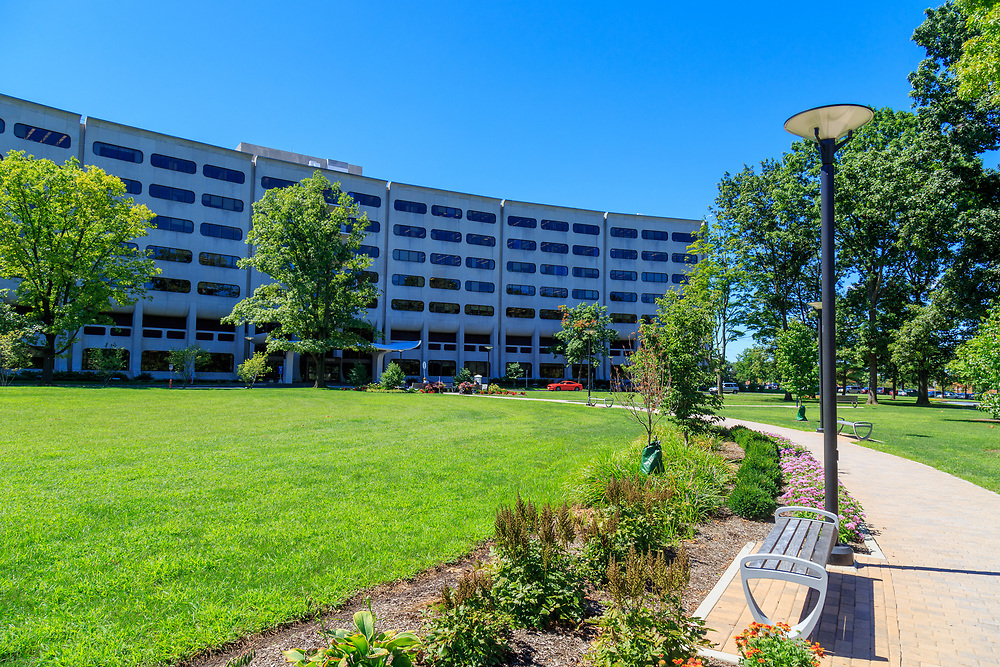 Hershey, PA - August 22, 2016: Penn State Hershey Medical Center is a large complex that includes a Children's Hospital, Cancer Institute, Trauma Center, and College of Medicine.