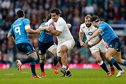 England Number 8 Billy Vunipola is challenged by Italy Flanker Mauro Bergamasco and Scrum-Half Edoardo Gori - Photo mandatory by-line: Rogan Thomson/JMP - 07966 386802 - 14/02/2015 - SPORT - RUGBY UNION - London, England - Twickenham Stadium - England v Italy - 2015 RBS Six Nations Championship.