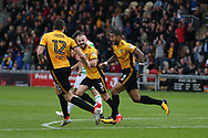 Joss Labadie of Newport county ® celebrates with teammate Ben Tozer (12)  after he scores his teams 2nd goal. EFL Skybet football league two match, Newport county v Yeovil Town at Rodney Parade in Newport, South Wales on Saturday 7th October 2017.<br /> pic by Andrew Orchard,  Andrew Orchard sports photography.