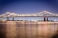 The Mississippi River bridge in New Orleans, Louisiana