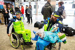 Jernej Slivnik, Gal Jakic with his son Leo Jakic prior to the departure of Slovenian Paralympic team for Pyeongchang 2018 Winter Paralympics, on March 3, 2018 in Letalisce Jozeta Pucnika, Brnik, Slovenia. Photo by Vid Ponikvar / Sportida