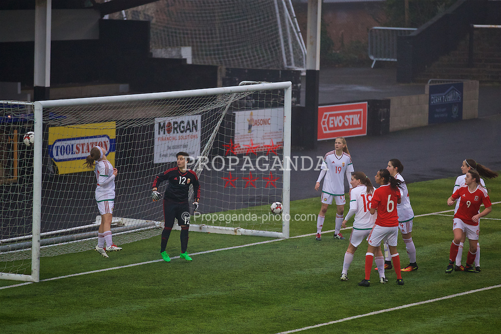 MERTHYR, WALES - Tuesday, February 14, 2017: Wales' Cassia Pike scores the first goal against Hungary during a Women's Under-17's International Friendly match at Penydarren Park. (Pic by Laura Malkin/Propaganda)