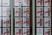 A lettings agent window shows that each of their properties are unavailable with signs that say sorry let on 28th June, 2021 in Leeds, United Kingdom. Data from Ipsos Mori revealed that 71% of private renters in the UK believe the country has a housing crisis.