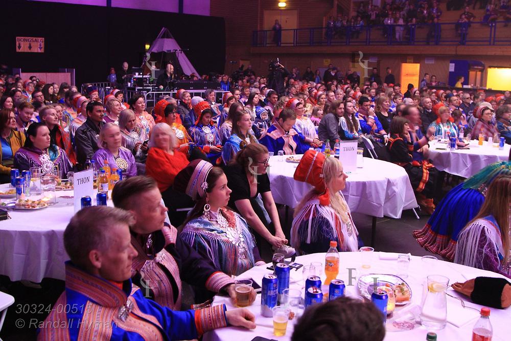 Audience enjoys performance at the Sami Easter Festival Grand Prix in Kautokeino, Finnmark, Norway.