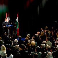 Opposition party leader Viktor Orban delivers his year evaluation speach at Millenaris Theatrum.