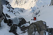 Adam Zok dropping into a couloir Rogers Pass, BC