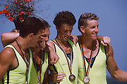 .Barcelona Olympic Games 1992, Olympic Regatta - Lake Banyoles.AUS M4-'Oarsome foursome' Andrew Cooper, Michael Scott, Nick Green and James Tomkins .Awards Dock with Gold medals. {Mandatory Credit: © Peter Spurrier/Intersport Images].
