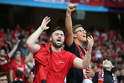 May 26, 2018 - Kiev, Ukraine - Liverpool FC fans and supporters entertain at NSC Olipiyskyi stadium in Kyiv, Ukraine, May 26, 2018 before the UEFA Champions League Final kicks off. (Credit Image: © Sergii Kharchenko/NurPhoto via ZUMA Press)