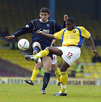 Photo. Chris Ratcliffe<br /> Digitalsport<br /> NORWAY ONLY<br /> Southend Utd v Torquay Utd. Nationwide Division 3. 08/05/2004<br /> Jo kuffour of Torquay and kevin Maher of Southend battle it out