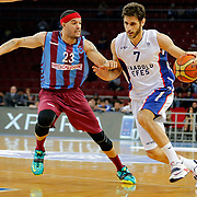 Anadolu Efes's Stratos Perperoglou (R) and Trabzonspor's Sean James Marshall (L) during their Turkish Basketball League Play Off Semi Final round 1 match Anadolu Efes between Trabzonspor at Abdi Ipekci Arena in Istanbul Turkey on Friday 29 May 2015. Photo by Aykut AKICI/TURKPIX
