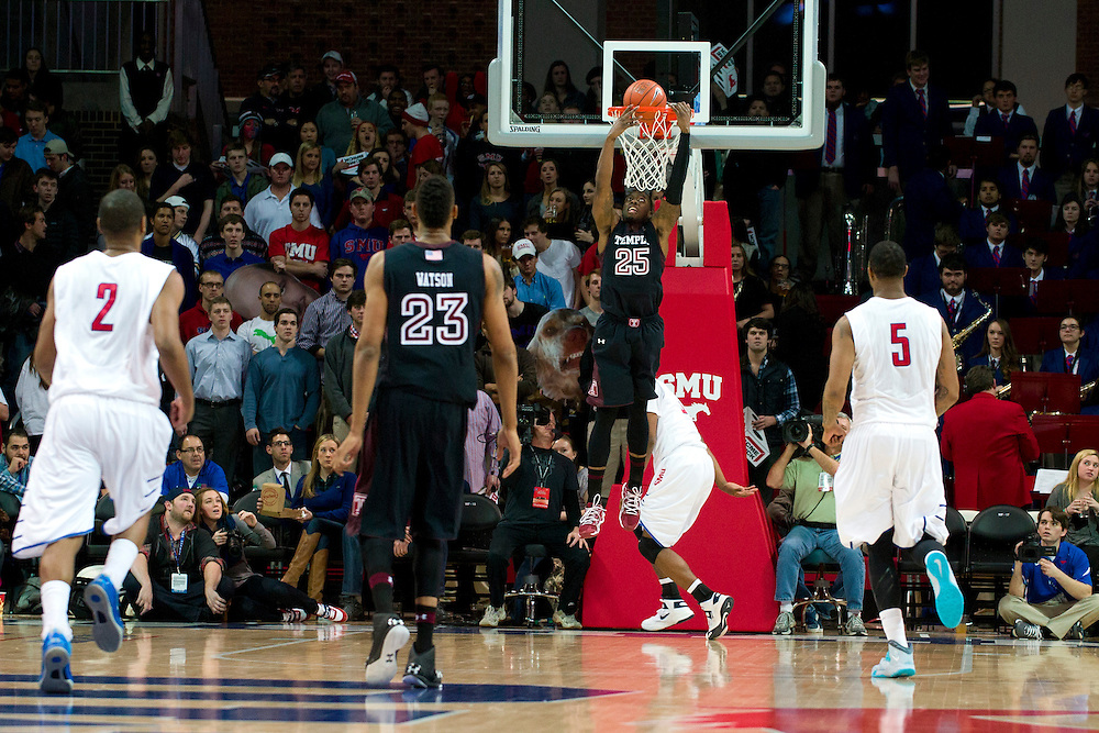 DALLAS, TX - FEBRUARY 6: Quenton DeCosey #25 of the Temple Owls dunks the ball against the SMU Mustangs on February 6, 2014 at Moody Coliseum in Dallas, Texas.  (Photo by Cooper Neill) *** Local Caption *** Quenton DeCosey