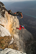 Wingsuit BASE-jumpers Robi Pecnik and Vanja Silvak, Monte Brento, Italy