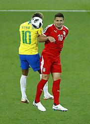 June 27, 2018 - Moscow, Russia - Group E Serbia v Brazil - FIFA World Cup Russia 2018.Neymar (Brazil) and Dusan Tadic (Serbia)  at Spartak Stadium in Moscow, Russia on June 27, 2018. (Credit Image: © Matteo Ciambelli/NurPhoto via ZUMA Press)