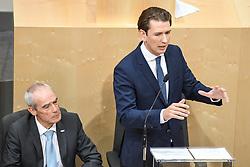 "27.05.2019, Hofburg, Wien, AUT, Sondersitzung des Nationalrates, Sitzung des Nationalrates aufgrund des Misstrauensantrags der Liste JETZT, FPOE und SPOE gegen Bundeskanzler Sebastian Kurz (OeVP) und die Bundesregierung, im Bild v.l. Eckart Ratz, Sebastian Kurz (ÖVP) // during special meeting of the National Council of austria due to the topic ""motion of censure against the federal chancellor Sebastian Kurz (OeVP) and the federal government"" at the Hofburg in Wien, Australia on 2019/05/27. EXPA Pictures © 2019, PhotoCredit: EXPA/ Lukas Huter"