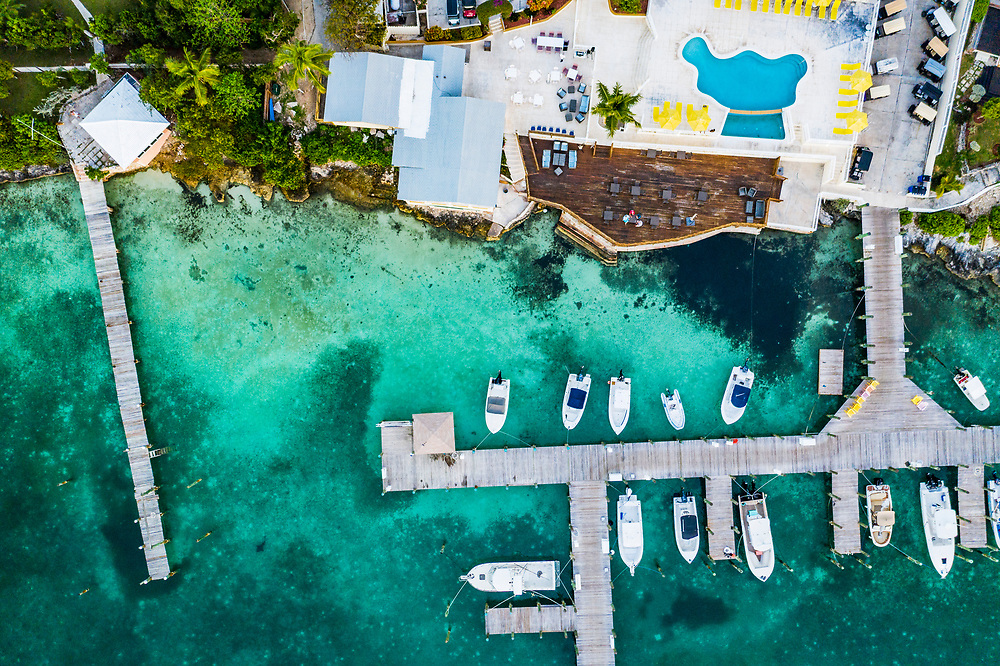 A hotel and marina constructed in a seagrass meadow. Harbour Island, Bahamas