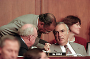 Ranking democrat Rep. John Conyers talks to fellow members during House Judiciary Committee during hearings on whether impeachment proceedings should begin against President Bill Clinton October 5, 1998 in Washington, DC. This is only the third time in US history that impeachment proceedings against a President have been brought to the House committee.