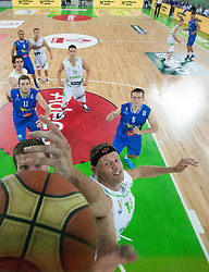 Mirza Teletovic of Bosnia vs Miha Zupan of Slovenia during basketball match between National teams of Slovenia and Bosna and Herzegovina in day 1 of Adecco cup, on August  3, 2012 in Arena Stozice, Ljubljana, Slovenia. (Photo by Vid Ponikvar / Sportida.com)