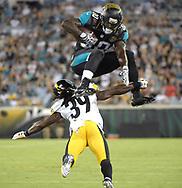 during the first half of an NFL preseason football game in Jacksonville, Fla., Friday, Aug. 14, 2015. (AP Photo/Phelan M. Ebenhack)