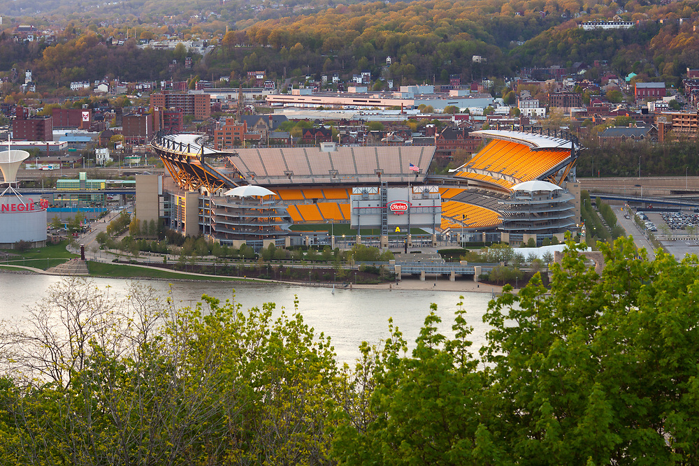 Pittsburgh, Pennsylvania, United States - Elevated view of empty Heinz Field stadium.
