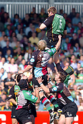 Northampton, Northamptonshire, 9th November 2004, Franklyn Gardens, Zurich Premiership Rugby Harlequins v Northampton Saints,  Damien Browne, climes high to collect the line out ball, [Mandatory Credit: Pete Spurrier/Intersport Images],