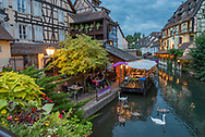Dining alfresco in the town of Colmar in the Alsace region of France.