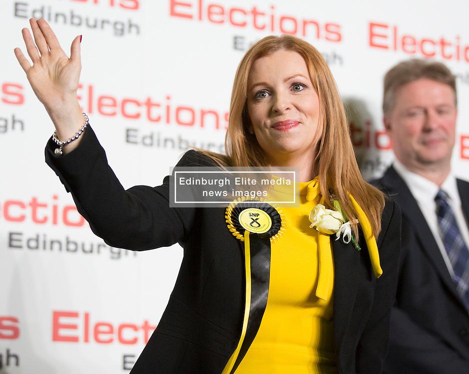 Scottish Parliament Election 2016 Royal Highland Centre Ingliston Edinburgh 05 May 2016; Ash Denham was to her SNP supporters during the Scottish Parliament Election 2016, Royal Highland Centre, Ingliston Edinburgh.<br /> <br /> (c) Chris McCluskie | Edinburgh Elite media