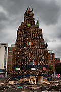 Bonfires are built in Protestant areas right across Northern Ireland and lit on the eve of 12 July Orange celebrations.