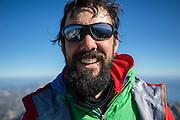 Climbing the Grand Teton with Brenton Reagan, Nat Patridge, and Hadley Hammer in Grand Teton National Park, Wyoming<br /> Photo by David Stubbs<br /> ©David Stubbs 2014<br /> www.davidstubbs.com