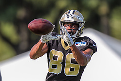 July 28, 2018 - New Orleans, LA, U.S. - METAIRIE, LA. - JULY 28:  New Orleans Saints wide receiver Eldridge Massington (86) runs through a drill during New Orleans Saints training camp practice on July 28, 2018 at the Ochsner Sports Performance Center in New Orleans, LA.  (Photo by Stephen Lew/Icon Sportswire) (Credit Image: © Stephen Lew/Icon SMI via ZUMA Press)