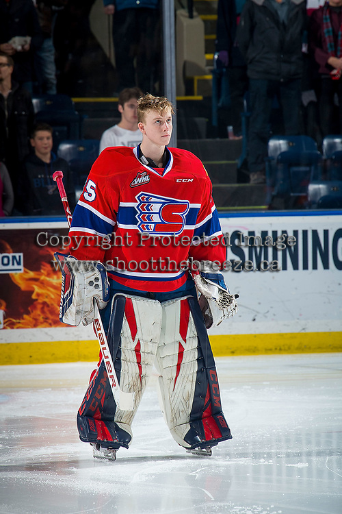 KELOWNA, BC - FEBRUARY 06:  Reece Klassen #35 of the Spokane Chiefs stands on the ice during the national anthem against the Kelowna Rockets at Prospera Place on February 6, 2019 in Kelowna, Canada. (Photo by Marissa Baecker/Getty Images)