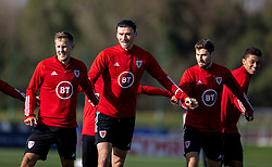 CARDIFF, WALES - Wednesday, October 7, 2020: Wales' L-R Joseff Morrell, Kieffer Moore, Ben Davies and Brennan Johnson during a training session at the Vale Resort ahead of the International Friendly match against England. (Pic by David Rawcliffe/Propaganda)