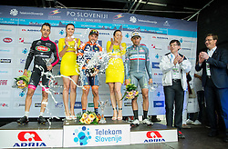 Second placed PARRINELLO Antonio Casimir (Italy) of D'Amico Bottecchia, Winner DE NEGRI Pier Paolo (Italy) of Nippo - Vini Fantini and third placed PONZI Simone (Italy) of Southeast celebrate during flower ceremony after the Stage 2 of 22nd Tour of Slovenia 2015 from Skofja Loka to Kocevje (183 km) cycling race  on June 19, 2015 in Slovenia. Photo by Vid Ponikvar / Sportida